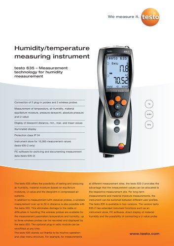 Humidity/temperature measuring instrument - testo 635