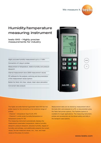 Humidity/temperature measuring instrument - testo 645