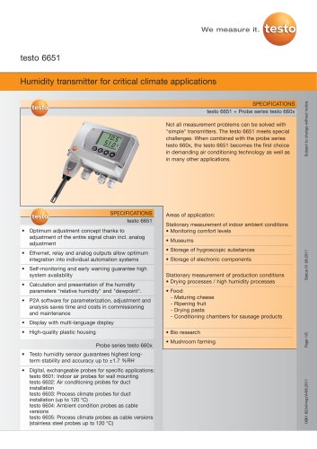 Humidity transmitter for critical climate applications - testo 6651