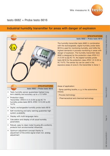 Industrial humidity transmitter for areas with danger of explosion - testo 6682