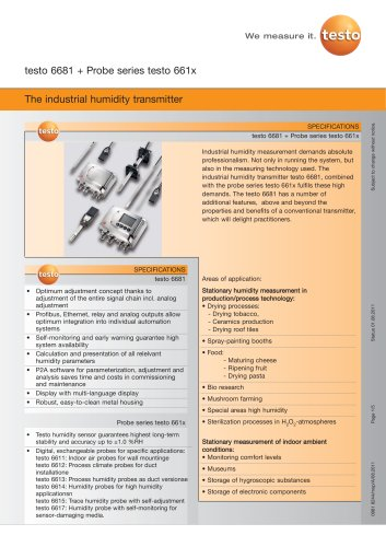 The industrial humidity transmitter - testo 6681