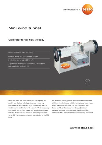 Mini wind tunnel - Calibrator for air flow velocity