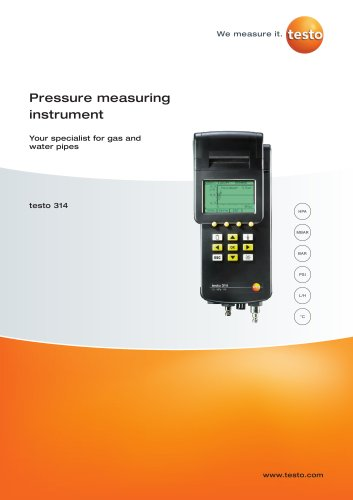 Pressure measuring instrument - Your specialist for gas and water pipes - testo 314