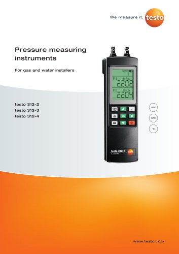 Pressure measuring instruments - For gas and water installers