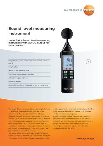 Sound level measuring instrument - testo 816