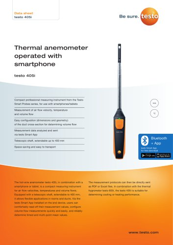 Thermal anemometer  operated with  smartphone testo 405i