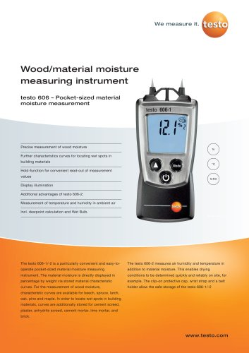 Wood/material moisture measuring instrument - testo 606