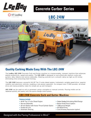 LBC-24W Concrete Curb and Gutter Machine