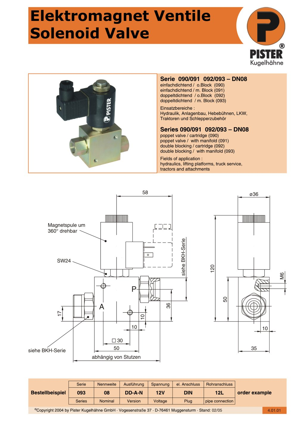 Solenoid Valve Pister Kugelhhne Pdf Catalogue Technical 12v Hydraulic Wiring Diagram 1 4 Pages