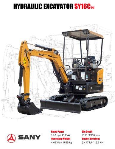 SANY Brand SY16 mini excavator
