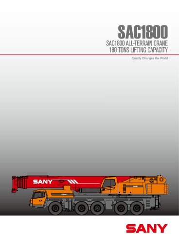 SANY SAC1800 180 Tons All-Tarrain Truck Crane