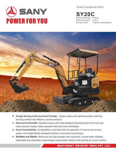 Sany SY20c 1.85 Tons  Construction and Garden Usege Mini Hydraulic Crawler Excavator