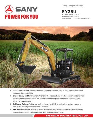 SANY SY35U 3.78 TON Construction and Garden Usege Mini Hydraulic Crawler Excavator for India Market