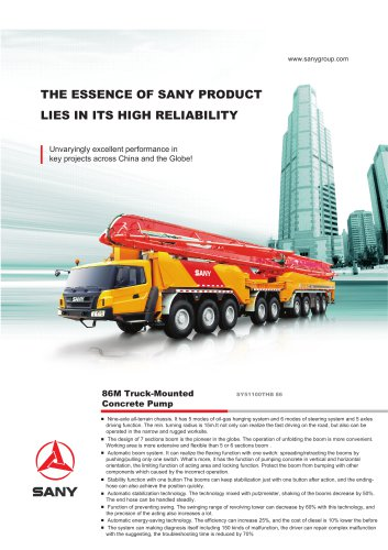 SANY SY51100THB 86 86M Truck-Mounted Concrete Pump