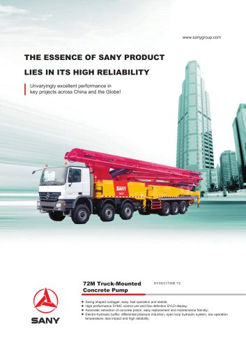 SANY SY5631THB 72 72M Truck-Mounted Concrete Pump