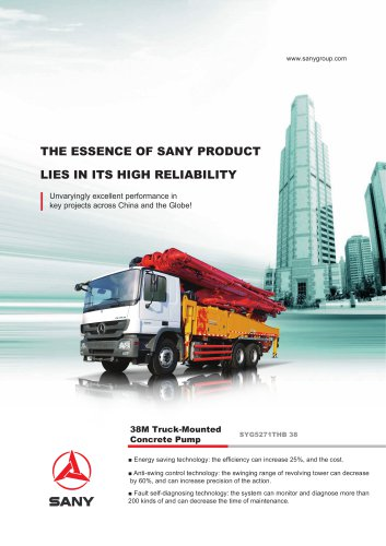 SANY SYG5271THB 38 38M Truck-Mounted Concrete Pump