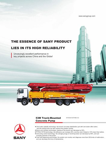 SANY SYG5418THB 53 53M Truck-Mounted Concrete Pump