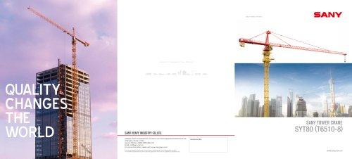 SANY SYT80(6510-8) Tower Crane