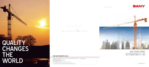SANY SYT80(T6011-6) 6ton 60m tower crane