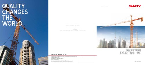 SANY SYT80(T6011-6W) 6Ton 60M tower crane