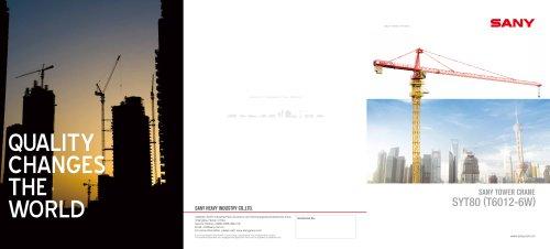 SANY SYT80(T6012-6w) TOWER CRANE