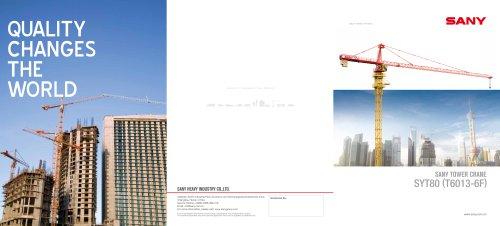 SANY SYT80(T6013-6F) TOWER CRANE