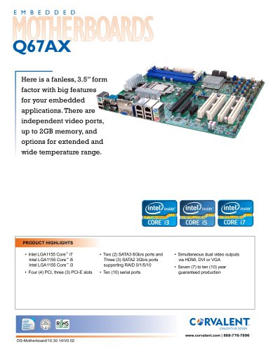Embeded Motherboards Q67AX