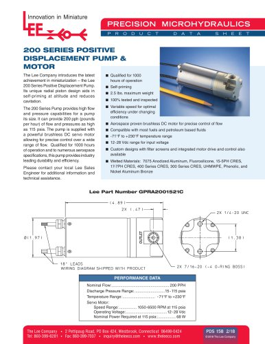 200 Series Positive Displacement Pump & Motor