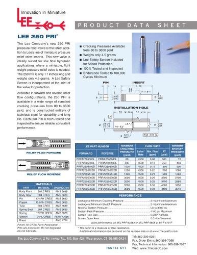 250 PRI Product Data Sheet