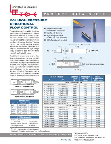 281 High Pressure Directional Flow Control
