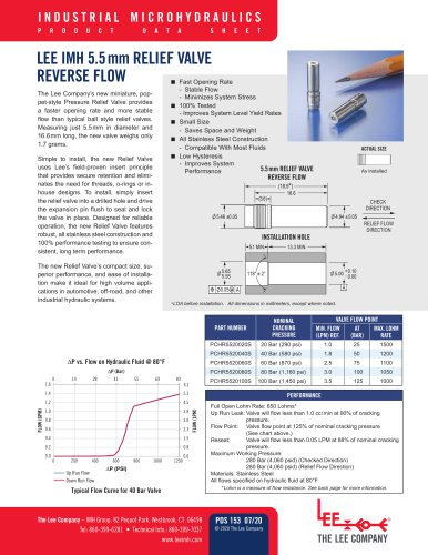 5.5mm Relief Valve Reverse Flow