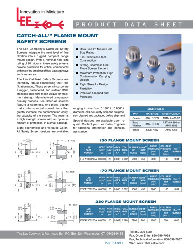CATCH-ALL FLANGE MOUNT SAFETY SCREENS