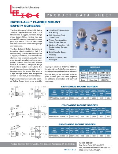 CATCH-ALL™ FLANGE MOUNT SAFETY SCREENS