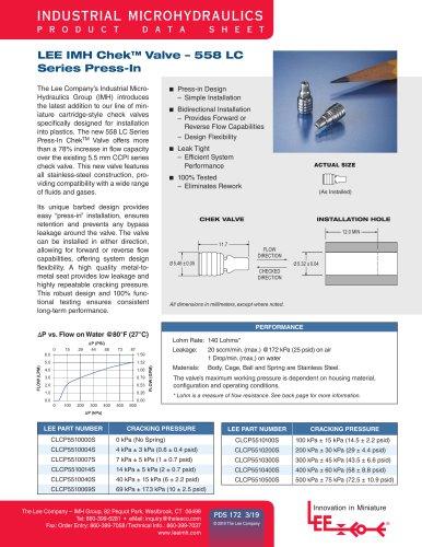 Chek Valve - 558 LC Series Press-In