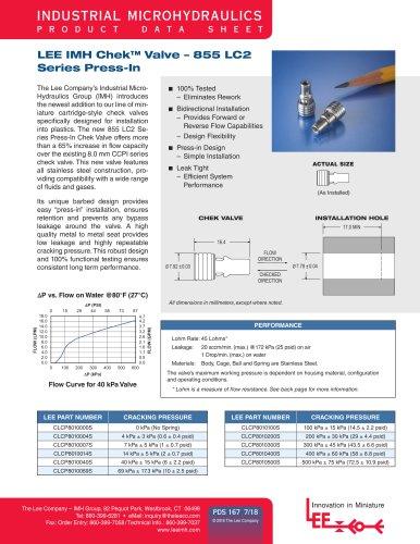 Chek Valve - 855 LC2 Series Press-In