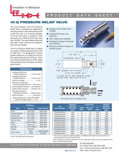 HI-Q PRESSURE RELIEF VALVE