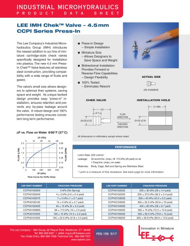 LEE IMH Chek™ Valve – 4.5mm CCPI Series Press-In