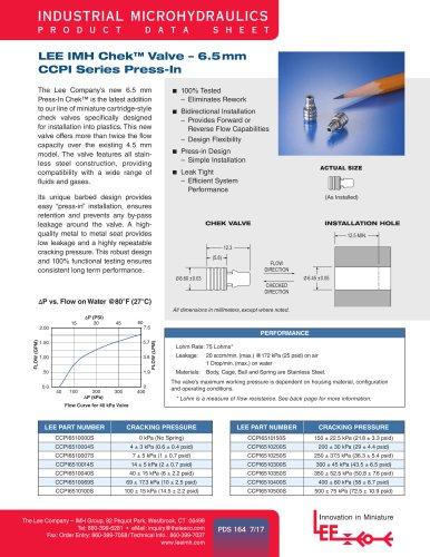 LEE IMH Chek™ Valve – 6.5mm CCPI Series Press-In