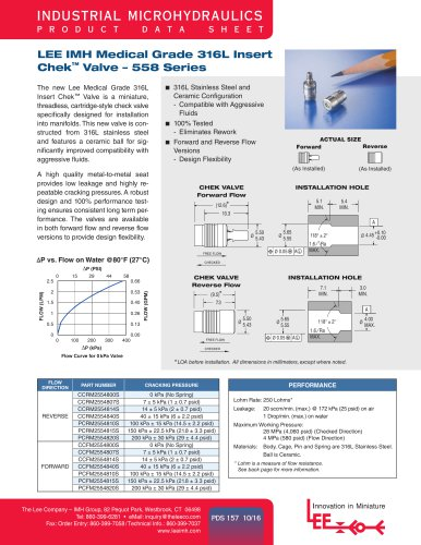LEE IMH Medical Grade 316L Insert Chek™ Valve – 558 Series