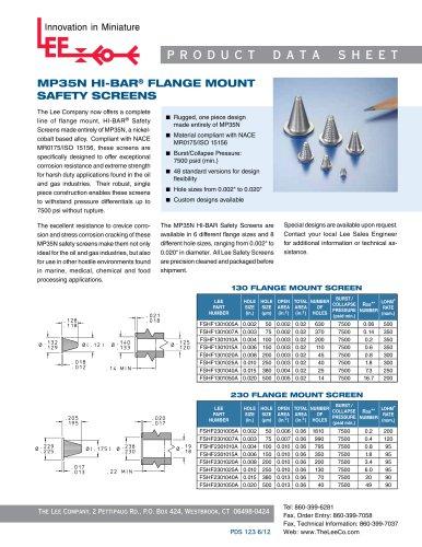 MP35N HI-BAR® FLANGE MOUNT SAFETY SCREENS