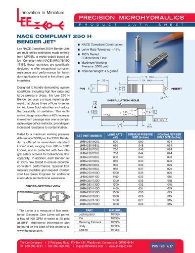 NACE COMPLIANT 250 H BENDER JET®