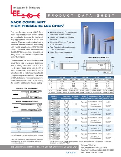 NACE Compliant High Pressure Lee Chek Product Data Sheet