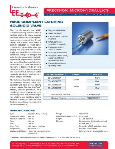 NACE Compliant Latching Solenoid Valve