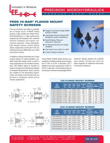 PEEK HI-BAR® FLANGE MOUNT SAFETY SCREENS