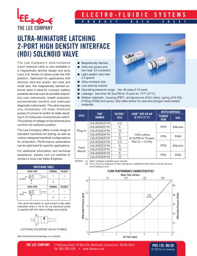 ULTRA MINIATURE 2-PORT NORMALLY CLOSED HIGH DENSITY INTERFACE (HDI) SOLENOID VALVE
