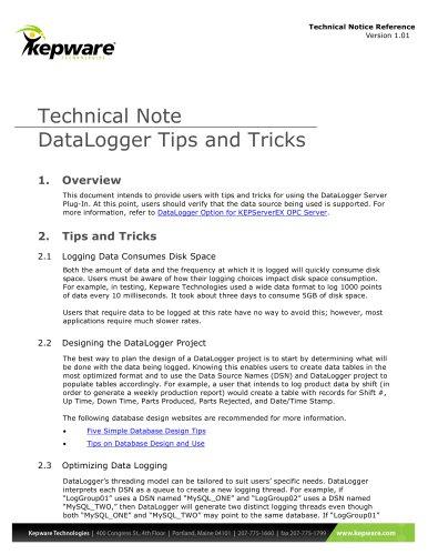 DataLogger Tips and Tricks - Kepware - PDF Catalogs