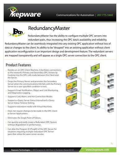 RedundancyMaster - Kepware - PDF Catalogs | Technical