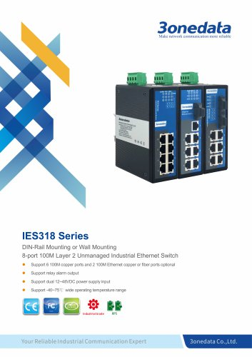 3oendata | IES318 | DIN rail | Unmanaged | 8 ports Industrial Ethernet Switch
