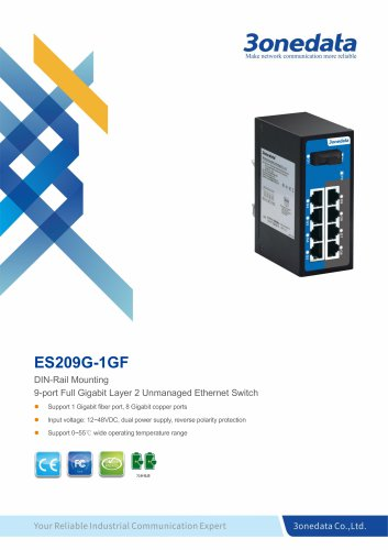 3onedata | ES209G-1GF | Unmanaged | DIN-rail | 8 ports Gigabit Ethernet Switch with 1 Fiber port
