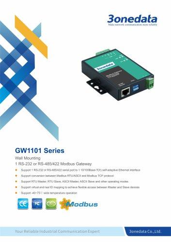 3onedata | GW1101 | 1-port RS-232/485/422 to Ethernet Modbus Gateway